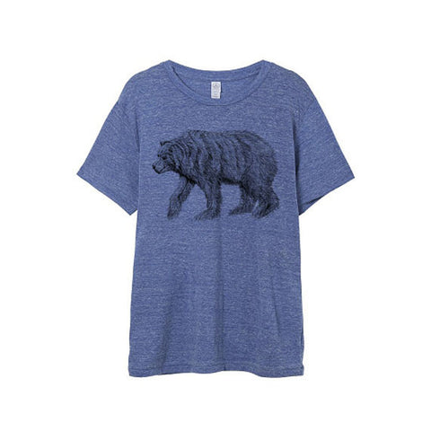 Mens Eco-Heather Blue California Bear Tshirt