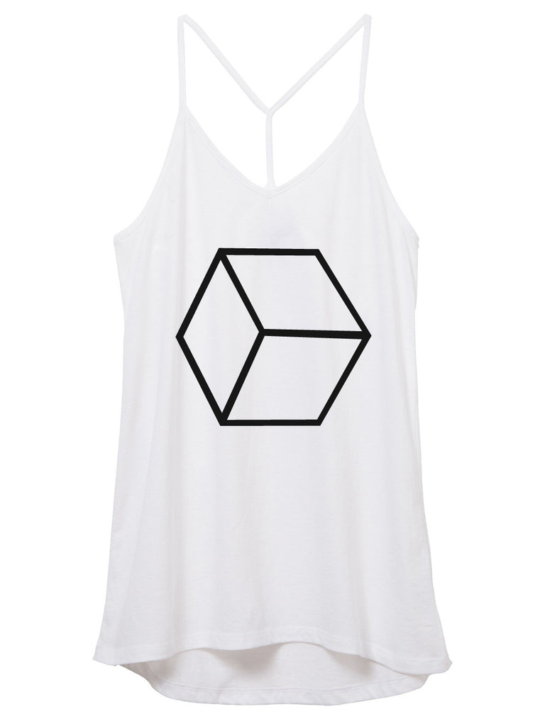 womens skinny strap cube tank top