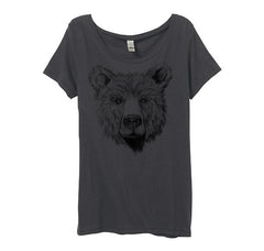 Womens Grey Bear Face Tshirt