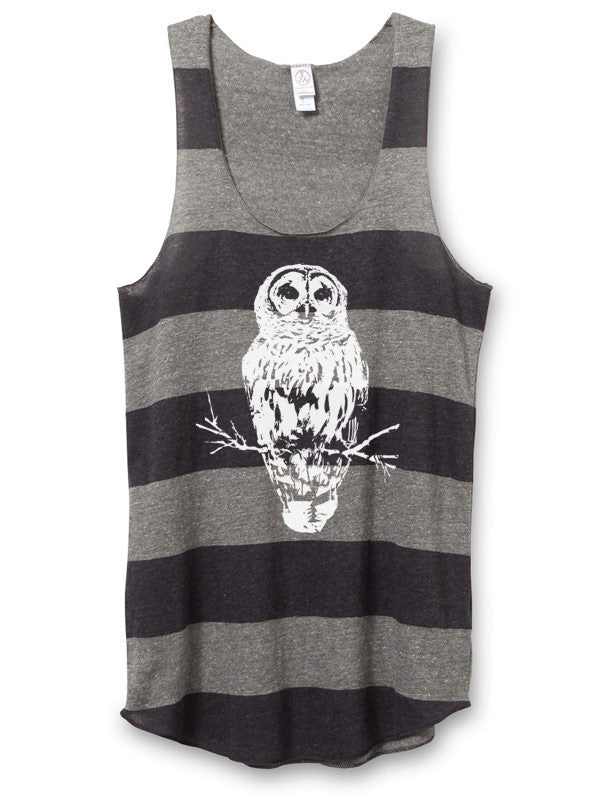 Womens Striped Owl Tank