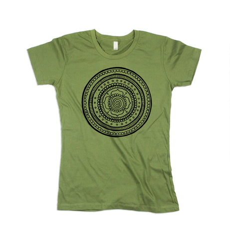 Womens Green Mandala Tsirt