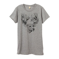 Womens Heather Grey Deer & Bird Tshirt