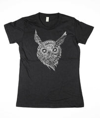 Womens Black Wise Owl Shirt