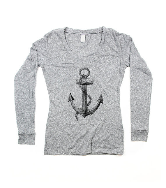 Womens Grey Anchor V-Neck Longsleeve