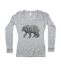 Womens Grey California Bear V-Neck Longsleeve