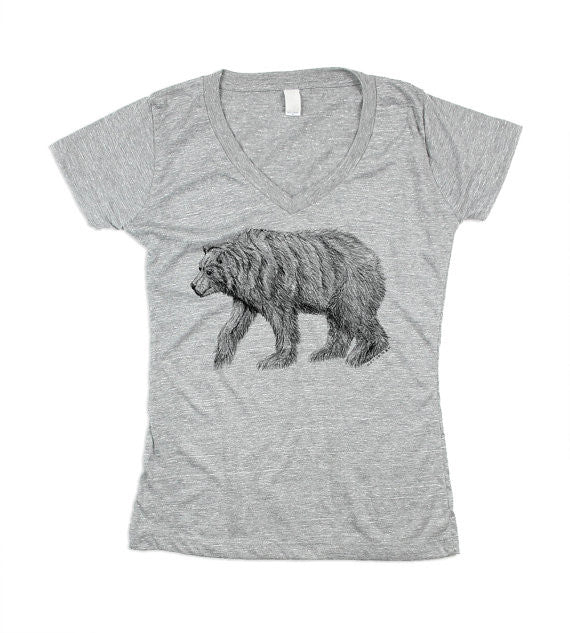 Womens Grey Bear V-Neck