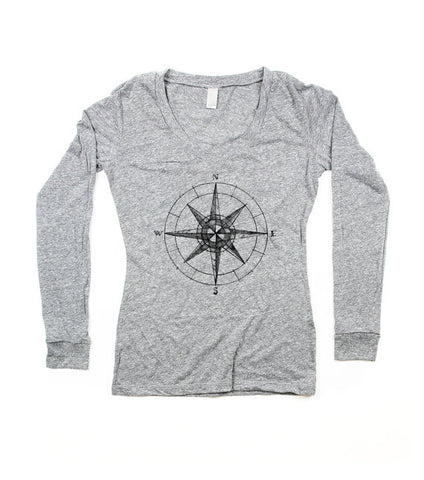 Womens Grey Compass V-Neck Top