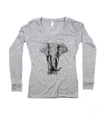 Womens Grey Elephant V-Neck Longsleeve