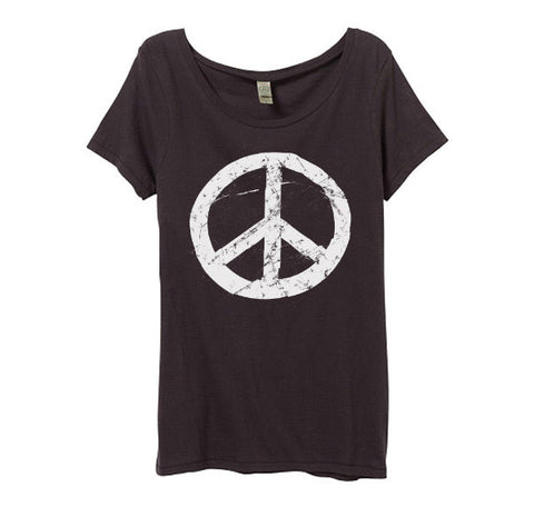 Womens Black Peace Sign Shirt