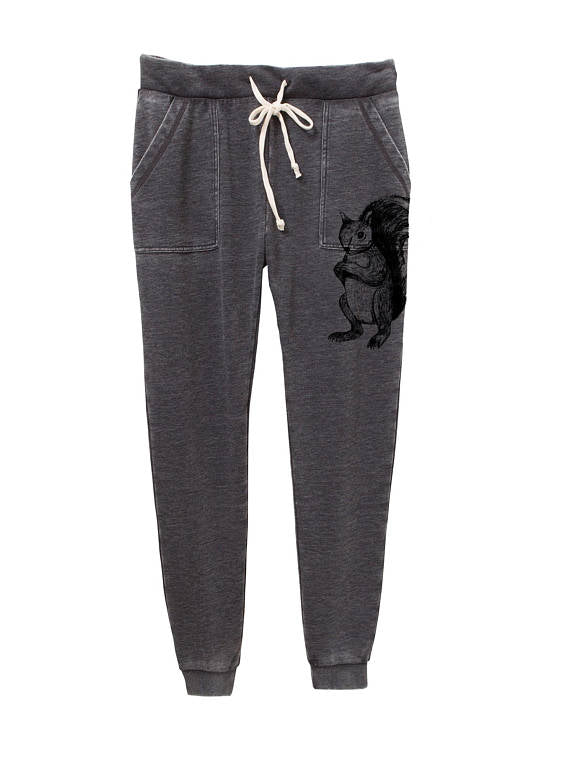 Womens French Terry Squirrel Jogger Pants