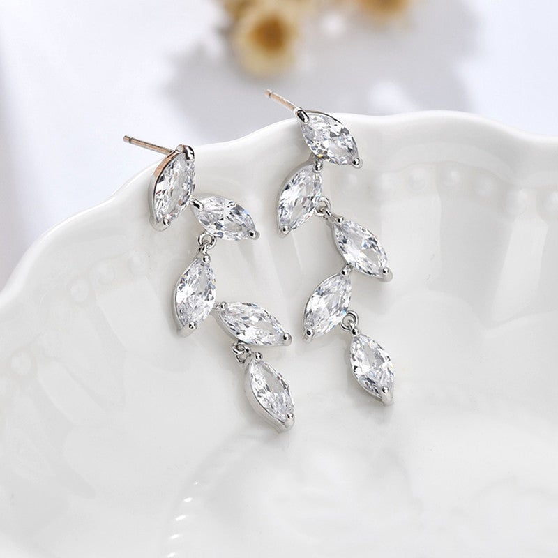 Leaves Marquise Cut Sterling Silver Drop Earrings