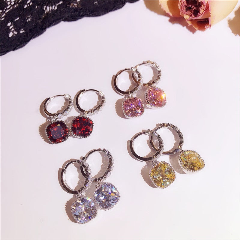 Shinning Square Cut Drop Earrings