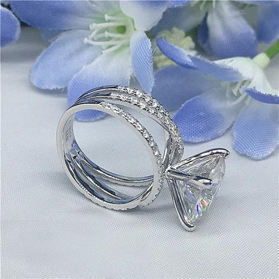 Round Cut Stone Sterling Silver Ring