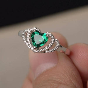 Emerald Heart Cut Engagement Rings