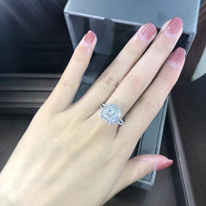 Halo Split Shank Sterling Silver Engagement Ring