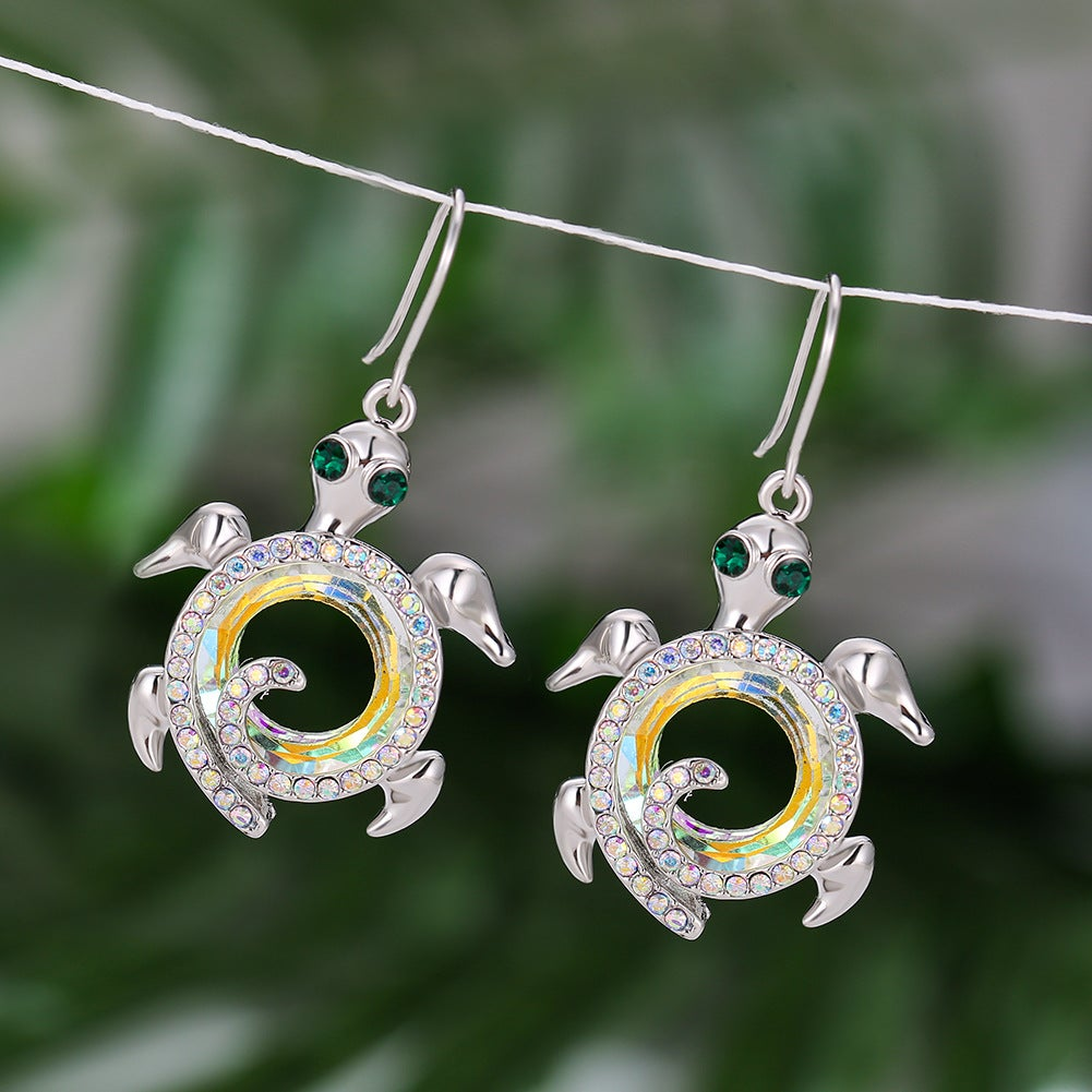 Turtle Design Austrian Crystal Sterling Silver  Earrings