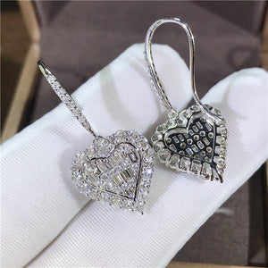 Romantic Heart Cut Sterling Silver Earrings