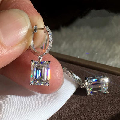 Classic Emerald Cut Sterling Silver Earrings