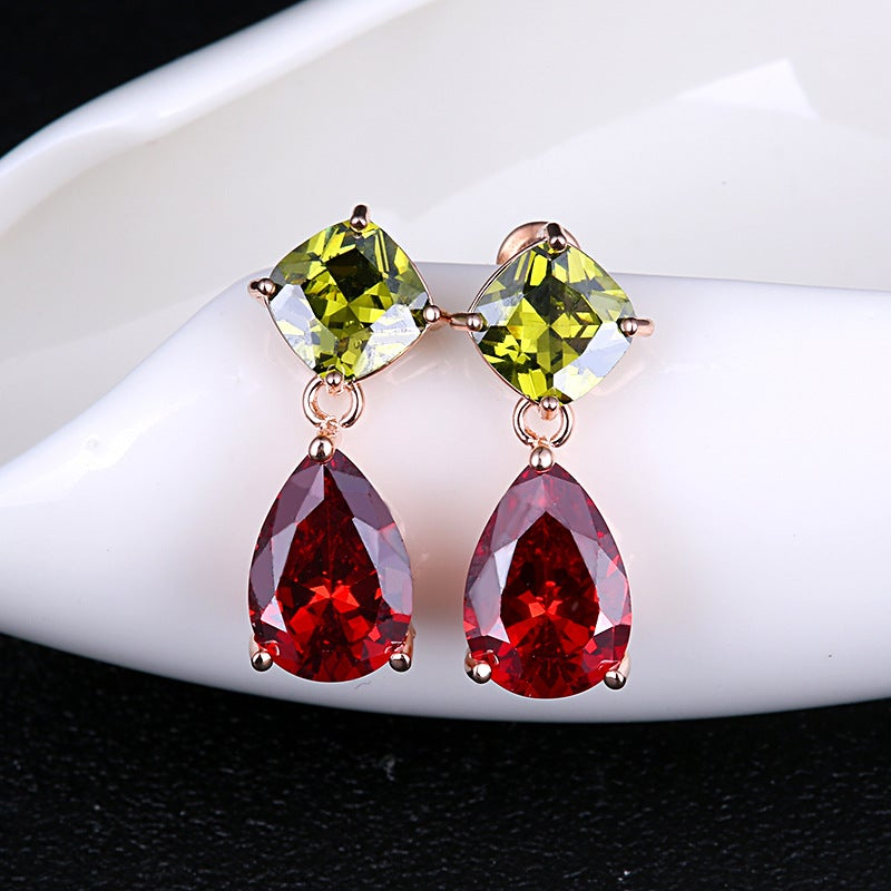 Red and Green CZ Stud Earrings