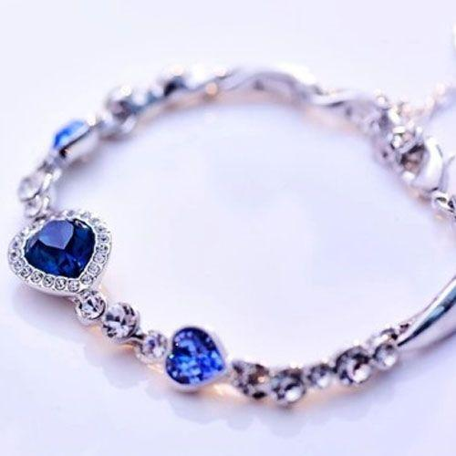 Ocean Blue Heart Design Bracelet