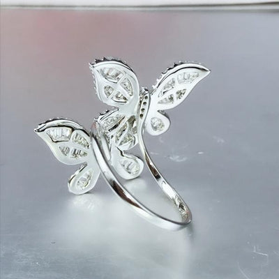 Double Butterflies Design Sterling Silver Ring