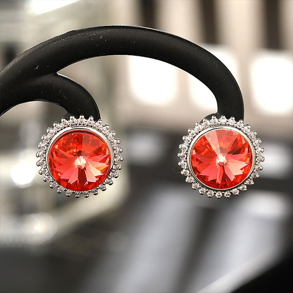 Round Austrian Crystal Silver Earrings