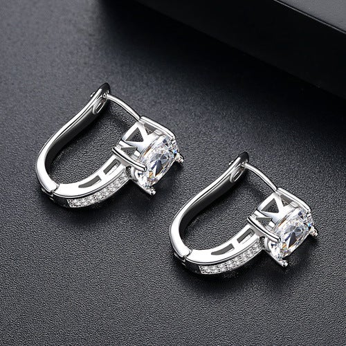Square Design Sterling Silver Hoop Earrings