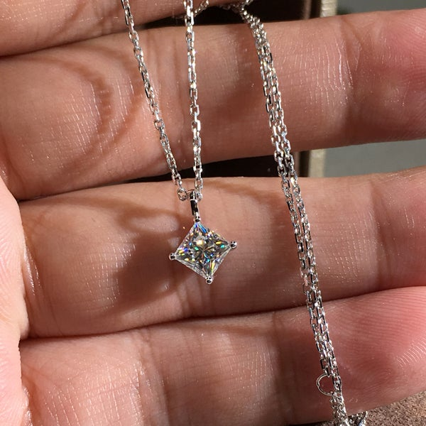 Classic Princess Cut Sterling Silver Necklace