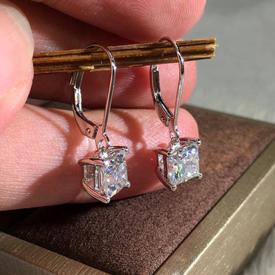 Classic Princess Cut Sterling Silver Earrings