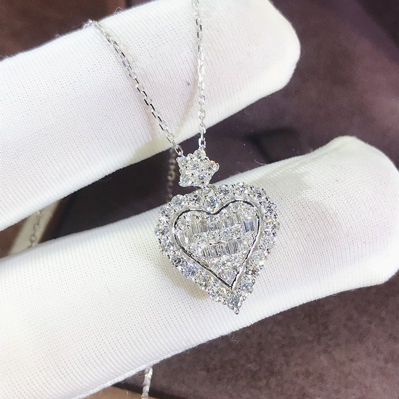Romantic Heart Cut Sterling Silver Necklace