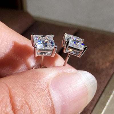 Classic Four-claw Square Sterling Silver Stud Earrings