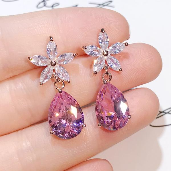 Cherry Blossom Zircon Sterling Silver Earrings