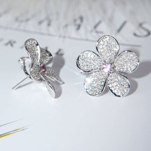 Elegant Flower Sterling Silver Earrings