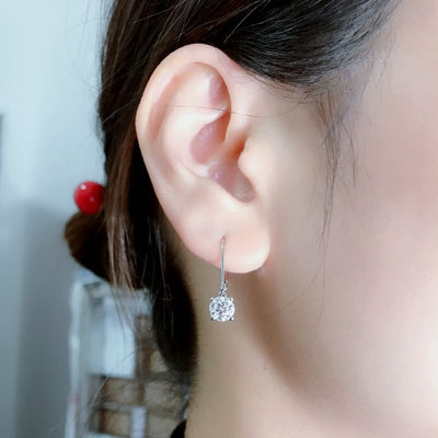 Simple Round Cut Sterling Silver Earrings