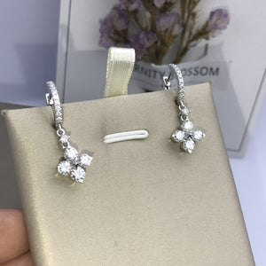 Lucky Clover Design Sterling Silver Drop Earrings