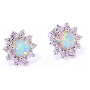 White Fire Opal Silver Stud Earrings