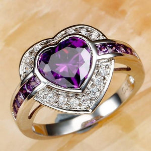 Heart Purple Prasiolite Silver Ring Unique Orchid 7 Purple