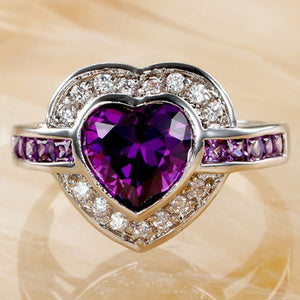 Heart Purple Prasiolite Silver Ring Unique Orchid