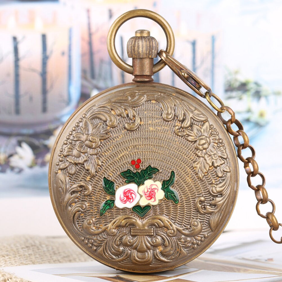 Mechanical Pocket Watch for Men Horizontal Phases Moon Sun 24-Hour Skeleton Pocket Watches for Women Automatic-self-winding Gift
