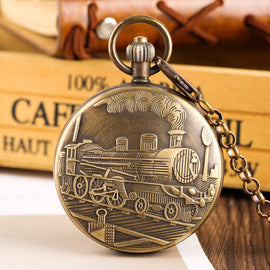 Mechanical Pocket Watch for Men Steam Train Pattern Watches for Boy Golden Skeleton Automatic-self-winding Necklace Chain Watch