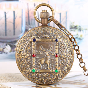 Antique Large Mechanical Watch for Men Horizontal Phases Moon Sun 24-Hour Skeleton Pocket Watches for Women Pendant Chain Watch