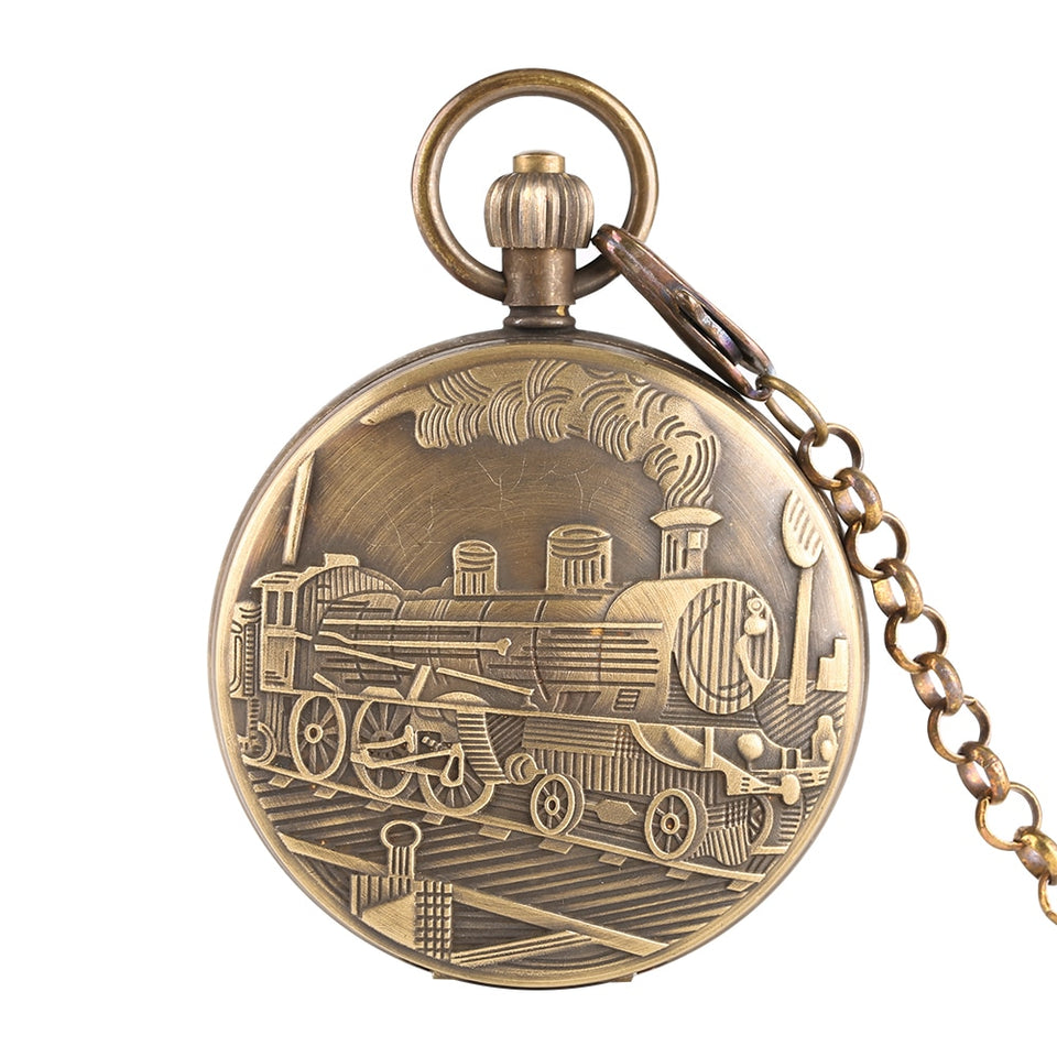 Classic Mechanical Pocket Watch for Men Steam Train Pattern Watches for Boy Golden Skeleton Automatic-self-winding Necklace Gift