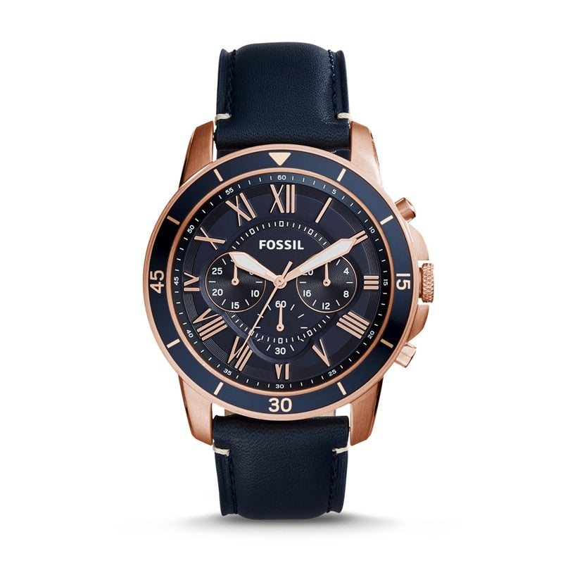 High Quality FOSSIL Men's Grant Sport Quartz Stainless Steel and Leather Dress Watch Color FS5237