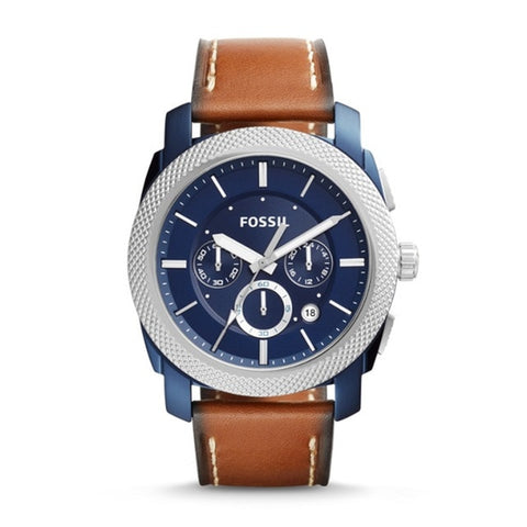 FOSSIL Machine Chronograph Blue Dial Men's Watch Luxury Brand Watch for Men with Brown Leather Strap FS5232P