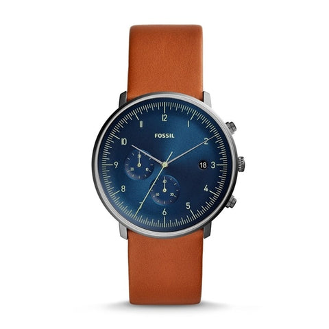 FOSSIL Mens Watch Chase Timer Chronograph Luggage Leather Watch Blue Dial Quartz watch Mens FS5486P