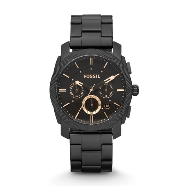 FOSSIL Machine Mid-Size Chronograph Black Stainless Steel Watch Chronograph Watch for Men FS4682P