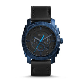 FOSSIL Machine Chronograph for Men Blue Case Black Leather Watch reloj fossil hombre with FS5361