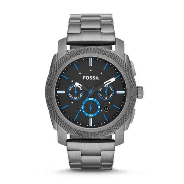 High Quality FOSSIL Machine Chronograph Smoke Stainless Steel Watch mens watches top brand luxury relojes para hombre FS4931