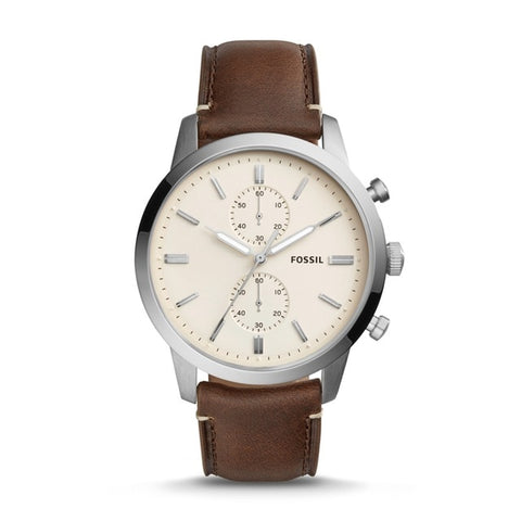FOSSIL Townsman 44MM Quartz Chronograph Brown Leather Watch Vintage Pocket Watch for Man FS5350