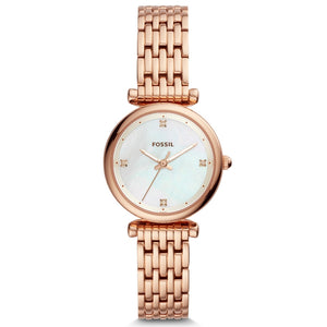 FOSSIL Women Watches Carlie Mini THREE-HAND Rose Gold-Tone Stainless Steel Watch Luxury Pocket Watches for Women ES4429P